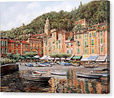 barche a Portofino Canvas Print by Guido Borelli