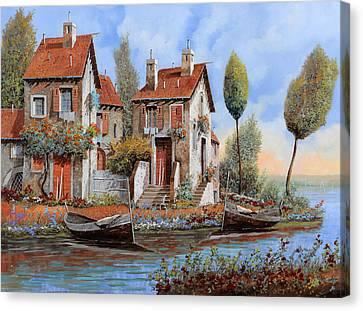 Barche A Riva Canvas Print by Guido Borelli