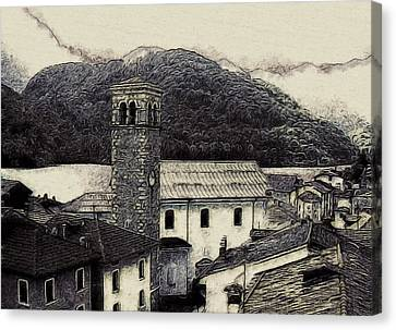 Port Town Canvas Print - Barcis Italy In Ink by Susan Maxwell Schmidt