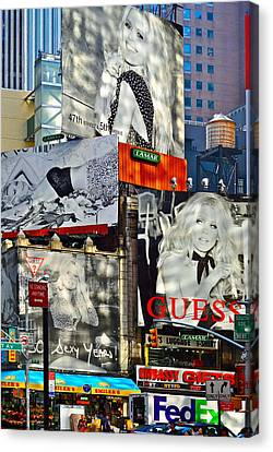 Bardot At Times Square Canvas Print by Gwyn Newcombe