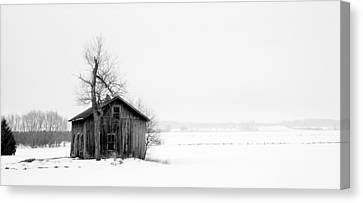 Bare Tree And Barn Canvas Print by Levin Rodriguez