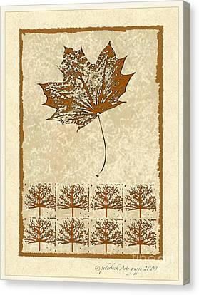 Bare Trees And Maple Leaf Canvas Print