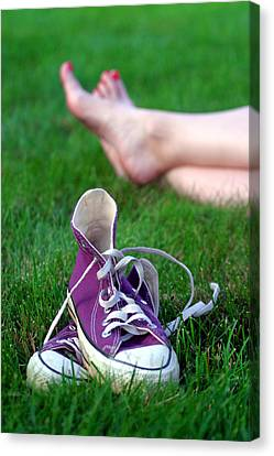 Sneakers Canvas Print - Barefoot In The Grass by David April