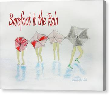 Barefoot In The Rain Canvas Print by Donna Blackhall