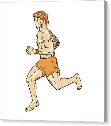 Barefoot Runner Running Side Etching Canvas Print