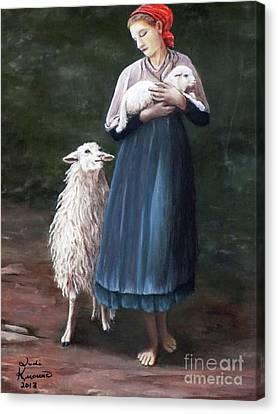 Barefoot Shepherdess Canvas Print by Judy Kirouac