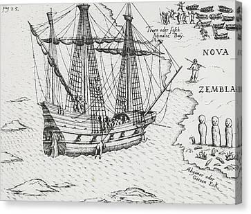 Barents' Ship At Nova Zembla Canvas Print