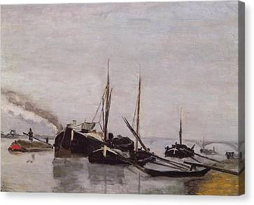 Barges On The Seine At Bercy Canvas Print