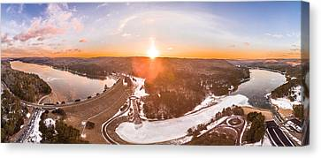 Barkhamsted Reservoir And Saville Dam In Connecticut, Sunrise Panorama Canvas Print by Petr Hejl