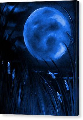 Barley Spike Moon In Blue Canvas Print by Rolly Mouchaty