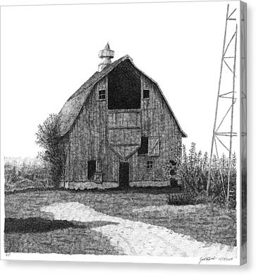 Barn Pen And Ink Canvas Print - Barn 10 by Joel Lueck
