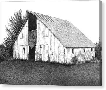 Barn Pen And Ink Canvas Print - Barn 16 by Joel Lueck