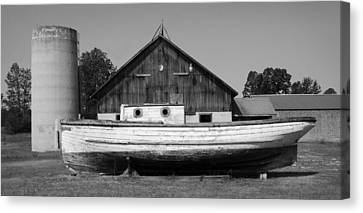 Barn And Boat - Door County Canvas Print by Stephen Mack