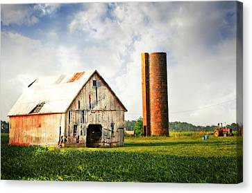 Barn And Brick Silo Canvas Print
