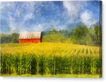Canvas Print featuring the digital art Barn And Cornfield by Francesa Miller