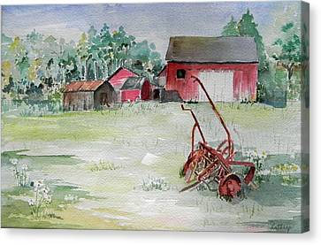 Barn And Cultivator Canvas Print
