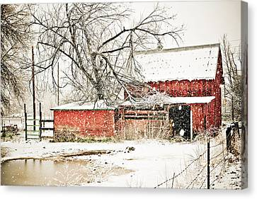 Barn And Pond Canvas Print by Marilyn Hunt