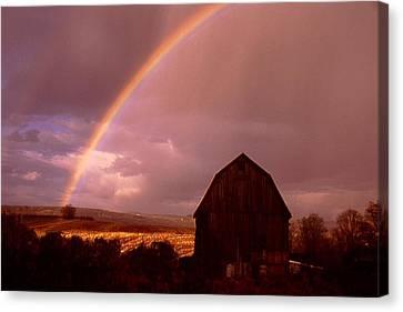 Barn And Rainbow In Autumn Canvas Print