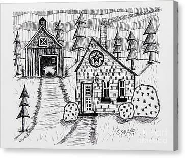 Barn And Sheep Canvas Print by Karla Gerard