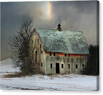 Barn And Sundog Canvas Print