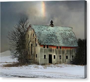 Barn And Sundog Canvas Print by Kathy M Krause