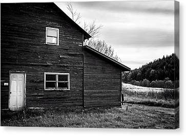 Barn And Wildflowers In Black And White Canvas Print by Greg Mimbs