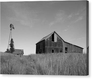 Barn And Windmill II Canvas Print