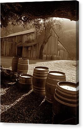 Barn And Wine Barrels 2 Canvas Print