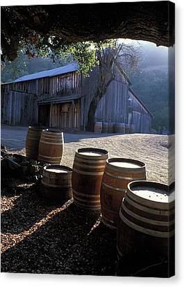 Barn And Wine Barrels Canvas Print by Kathy Yates