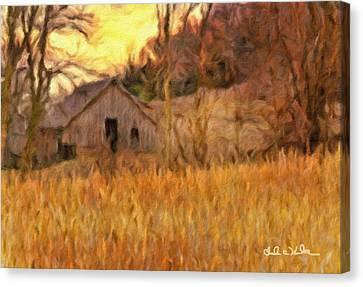 Cornfield Canvas Print - Barn At Sunset by Charles Wood II