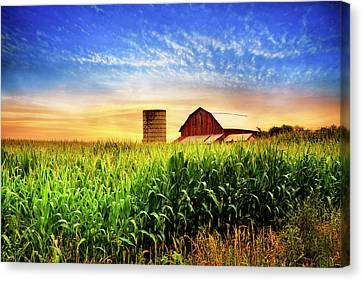 Western Kentucky Canvas Print - Barn At The Farm At Sunset by Debra and Dave Vanderlaan