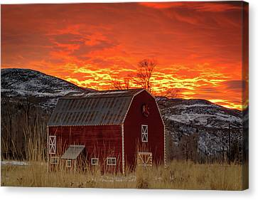 Canvas Print featuring the photograph Barn Burner Sunset. by Johnny Adolphson