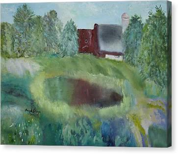 Barn By Pond Canvas Print by Aleezah Selinger