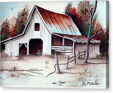 Canvas Print featuring the painting Barn by Denise Fulmer