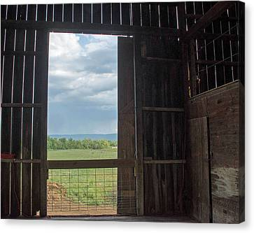 Barn Door Blue Sky Canvas Print by Dawn Whitmore