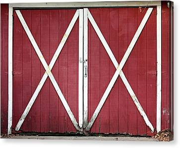 Canvas Print featuring the photograph Red Barn Doors by Sheila Brown