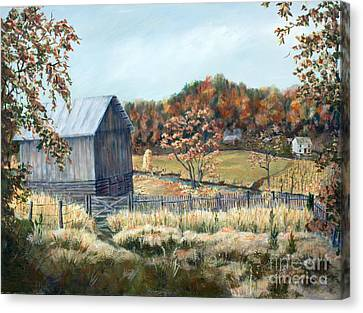Barn From Long Ago Canvas Print by Janet Felts