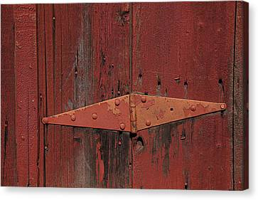 Red Door Henge Canvas Print - Barn Hinge by Garry Gay