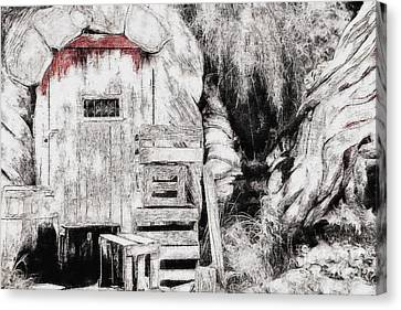 Painted Details Canvas Print - Barn House And Blood On Door by Sezer Akdeniz