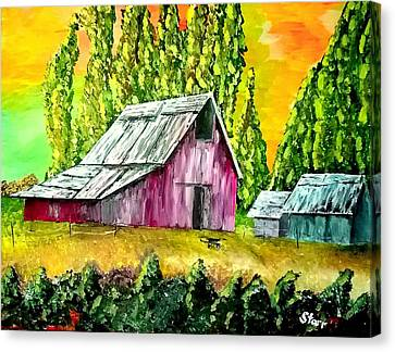 Barn In A Field Canvas Print by Irving Starr