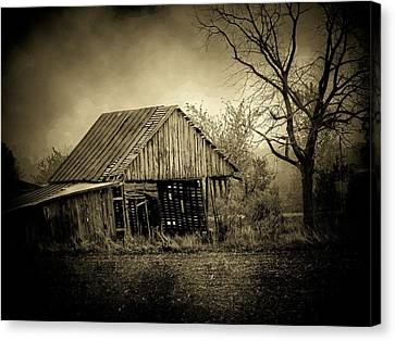 Barn In Storm Canvas Print by Michael L Kimble
