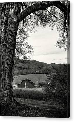 Barn In The Valley In Black And White Canvas Print by Greg Mimbs