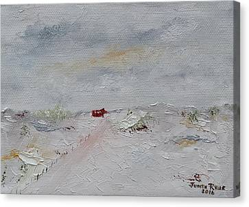 Canvas Print featuring the painting Barn In Winter by Judith Rhue