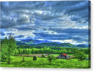 Barn On A Hill Great Smoky Mountains Canvas Print by Reid Callaway