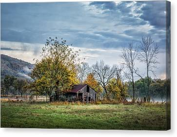 Barn On A Misty Morning Canvas Print by James Barber