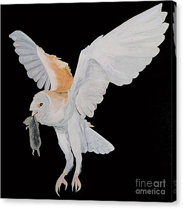 Canvas Print featuring the painting Barn Owl by Eric Kempson