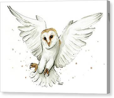 Bird Of Prey Canvas Print - Barn Owl Flying Watercolor by Olga Shvartsur