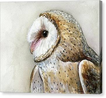 Barn Owl Watercolor Canvas Print by Olga Shvartsur