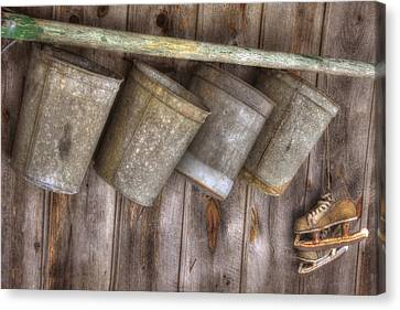 Barn Scenes - Old Skates And Sap Cans Canvas Print by Joann Vitali
