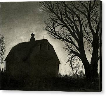 Barn Sillouette Canvas Print